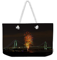 Fireworks Over The Verrazano Narrows Bridge Weekender Tote Bag