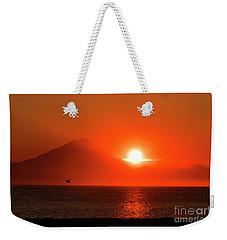 Firey Sunset On Mt Redoubt Volcano Alaska Weekender Tote Bag