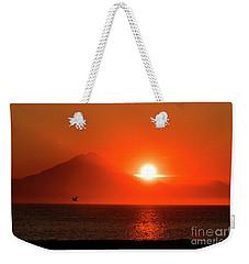 Firey Sunset On Mt Redoubt Volcano Alaska Weekender Tote Bag