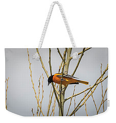 Weekender Tote Bag featuring the photograph First Baltimore Oriole Of The Year  by Ricky L Jones