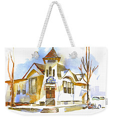 Weekender Tote Bag featuring the painting First Baptist Church In Winter by Kip DeVore