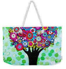 Weekender Tote Bag featuring the painting First Day Of Spring by Pristine Cartera Turkus