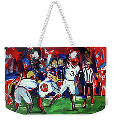 Weekender Tote Bag featuring the painting First Down by John Jr Gholson