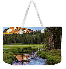 Weekender Tote Bag featuring the photograph First Light On Lassen From Upper Meadow by John Hight