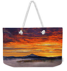 First Light On Mount Hood During Sunrise Weekender Tote Bag