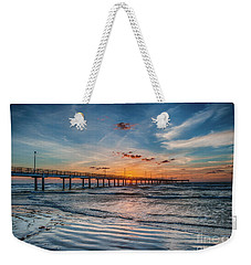 First Light Over The Pier Weekender Tote Bag by Tod and Cynthia Grubbs