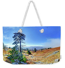 Weekender Tote Bag featuring the photograph First Light Snow by George Randy Bass