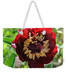 First Peony Bloom Weekender Tote Bag by Marsha Heiken
