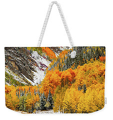 Weekender Tote Bag featuring the photograph First Snow by Jeffrey Jensen