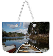 First Snow On Vermont Pond Weekender Tote Bag