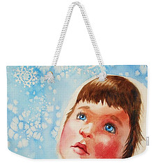 Weekender Tote Bag featuring the painting First Snowfall by Marilyn Jacobson