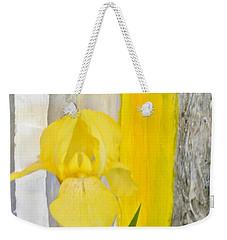 First Yellow Iris Weekender Tote Bag by Marsha Heiken