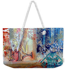Weekender Tote Bag featuring the mixed media Fish Collage #1 by Rose Legge