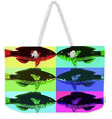 Weekender Tote Bag featuring the digital art Fish Dinner Pop Art by Nancy Merkle