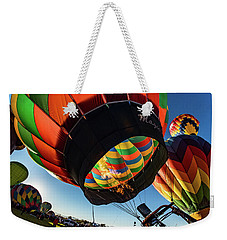 Weekender Tote Bag featuring the photograph Fish Eye View Of The Balloon Races by Janis Knight
