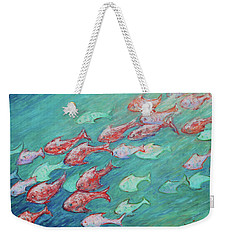 Weekender Tote Bag featuring the painting Fish In Abundance by Xueling Zou