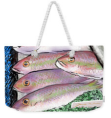 Weekender Tote Bag featuring the digital art Fish Market by Jean Pacheco Ravinski