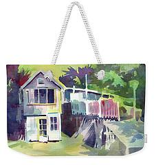 Weekender Tote Bag featuring the painting Fish Shack by Kris Parins