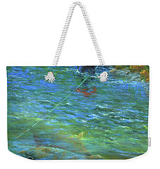 Weekender Tote Bag featuring the painting Fish Story by Jeanette French