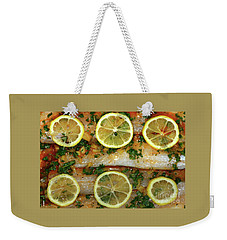 Weekender Tote Bag featuring the photograph Fish With Lemon And Coriander By Kaye Menner by Kaye Menner