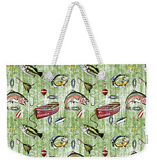 Weekender Tote Bag featuring the digital art Fisherman-a-green by Jean Plout