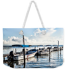Weekender Tote Bag featuring the photograph Fisherman's Marina by Lawrence Burry