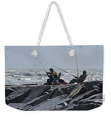Fishermen With Seagull Weekender Tote Bag by Allen Sheffield