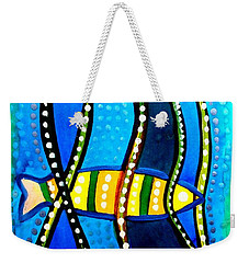 Weekender Tote Bag featuring the painting Fishes With Seaweed - Art By Dora Hathazi Mendes by Dora Hathazi Mendes