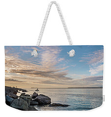 Fishing Along The South Jetty Weekender Tote Bag by Greg Nyquist