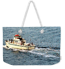 Weekender Tote Bag featuring the photograph Fishing And Seagulls by Randall Weidner