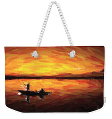 Fishing At Golden Hours Weekender Tote Bag by Adam Asar