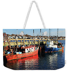 Weekender Tote Bag featuring the photograph Fishing Boats At Provincetown Wharf by Roupen  Baker