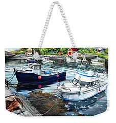 Fishing Boats In Lanes Cove Gloucester Ma Weekender Tote Bag by Eileen Patten Oliver