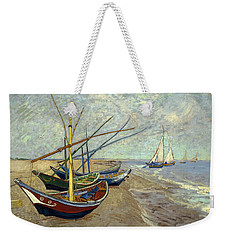 Weekender Tote Bag featuring the painting Fishing Boats On The Beach by Van Gogh