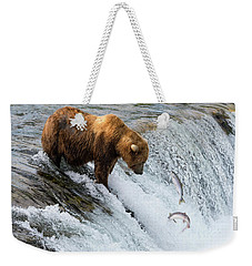 Weekender Tote Bag featuring the painting Fishing Brown Bear At Brooks Falls, Katmai National Park by Artistic Panda
