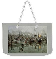 Weekender Tote Bag featuring the photograph Fishing Fleet Dock Five by Thom Zehrfeld