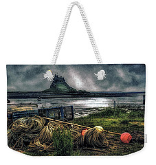Weekender Tote Bag featuring the photograph Fishing Gear At Lindisfarne. by Brian Tarr