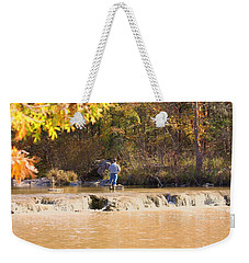 Weekender Tote Bag featuring the photograph Fishing In Fall by Sheila Brown