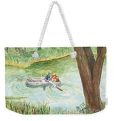 Weekender Tote Bag featuring the painting Fishing Lake Tanko by Vicki  Housel
