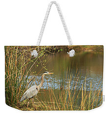 Weekender Tote Bag featuring the photograph Fishing Oceano Lagoon by Art Block Collections