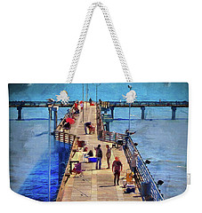 Fishing Off Galvaston Pier Weekender Tote Bag