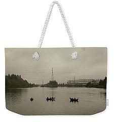 Fishing On Foggy Columbia River Weekender Tote Bag