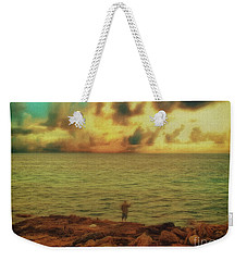 Weekender Tote Bag featuring the photograph Fishing On The Rocks by Leigh Kemp