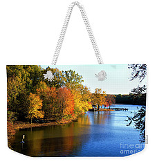Weekender Tote Bag featuring the photograph Fishing Pier At Charlie Elliott Wildlife Center by Barbara Bowen