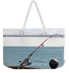 Fishing Rod On The Pier In San Francisco Bay Weekender Tote Bag