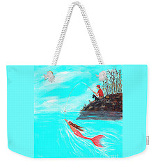 Weekender Tote Bag featuring the painting Fishing Surprise by Leslie Allen