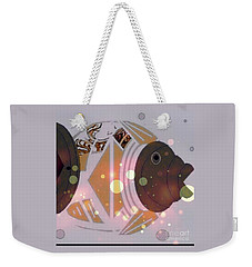 Weekender Tote Bag featuring the mixed media Fishy 2 by Ann Calvo