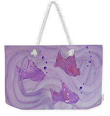 Weekender Tote Bag featuring the painting Fishy Trio by Michele Myers