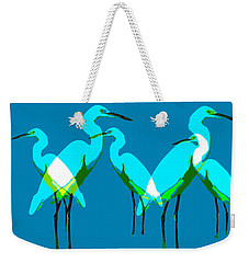 Weekender Tote Bag featuring the painting Five Egrets by David Lee Thompson