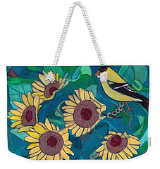 Weekender Tote Bag featuring the painting Five Golden Rings by Denise Weaver Ross